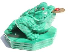 Feng Shui Green Money toad Lucky frog on Bagua Wealth-beckoning Excellent Luck
