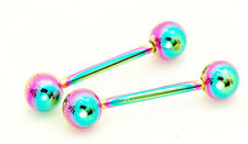 "Pair of 12g 5/8"" 6mm ball rainbow titanium plated tongue rings, nipple barbells"