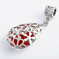 Fashion jewelry Womens Silver plated Red crystal Drop Filigree flower Pendant