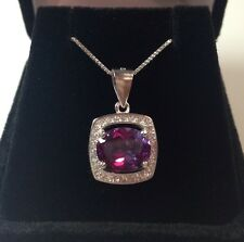 BEAUTIFUL 3.5ct Alexandrite & White Sapphire Sterling Silver Necklace NWT 18""