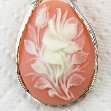 Rose Bud Cameo Pendant .925 Sterling Silver Jewelry Pink Resin