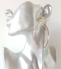 1 pair of gorgeous large patterned gold tone hoop drop CLIP ON earrings,