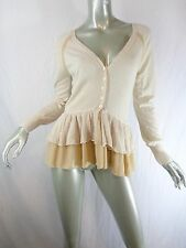 Knitted & Knotted Anthropologie Ruffled Peplum Bonny Cardigan Sweater Sz S