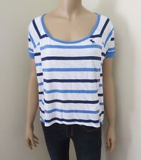 NWT Abercrombie Womens Top Shirt Size Small Striped Tee Blouse Easy Fit Blue