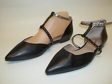 Seychelles Uncovered black Size 8.5 Leather Studded Flats Anthropologie d'orsay