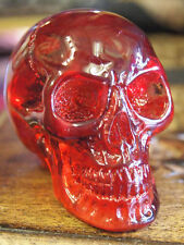 RED RESIN REALGAR SKULL Head Figure Ornament Pagan Occult Skeleton GOTHIC - NEW!