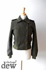 Topshop army green land girl années 1940 veste wartime bomber militaire laine uk 12
