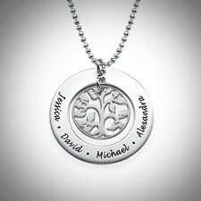 Family Tree Necklace Name Words Mom Children Life CUSTOM Gift STERLING SILVER
