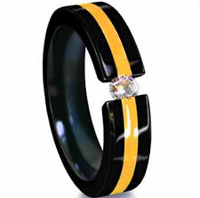 TITANIUM Black Plated TENSION RING with Gold Accent & Cubic Zirconia, size 10