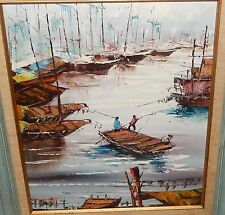 CHINESE FISHERMAN ON BOATS SCENE ORIGINAL OIL ON CANVAS PAINTING