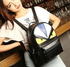 Women's Monster Backpacks Black PU leather shoulder bag school book travel bag