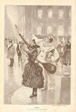 Taxi Cab, Costume Party, Revellers Hail A Cab, Vintage 1892 German Antique Print
