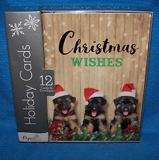 Holiday Christmas Cards Box of 12 with Envelopes ( German Shepherd Puppies)