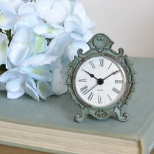 Shabby Cottage Chic French Style Blue Patina Petite Table Desk Clock