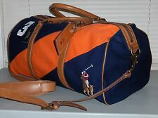 POLO RALPH LAUREN Canvas Leather Big Pony Duffle Bag, Travel Gym, Carry On, NAVY