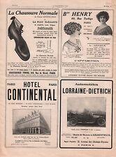 Lorraine-Dietrich Chaussure Normale Hotel Continental Paris 1911 ILLUSTRATION