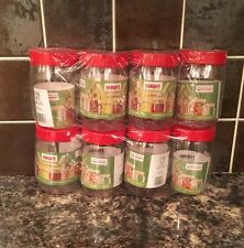 Brand New Sunpet Set Of 8 300ml Red Lid Plastic Food Storage Canisters Jar's