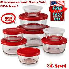 16-PC Glass Bowls and Lids Food Storage Container Set Microwave Oven Safe, Red