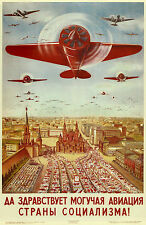 Russia Vintage War Propaganda Airplane Poster 11 x 17 Giclee Print