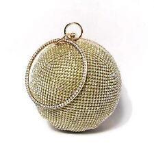 DAZZLING BALL SHAPE GOLD RHINESTONE MINAUDIERE CASE WRISTLET BAG