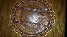 Pink Depression Glass Divided Relish Plate