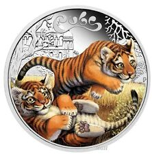 2016 The Tiger Cubs Tuvalu 1/2 oz SIlver Proof 50c Half Dollar Coin Colorized