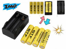 4pcs 18650 3.7V 9800mAh Rechargeable Li-ion Battery + Charger For Flashlight BY