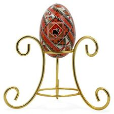 "4"" Reversible Three Legged Gold Tone Metal Egg Stand Ornament Display"