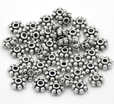 GB 1000pcs Silver Tibetan Spacer Beads Snowflake 4mm