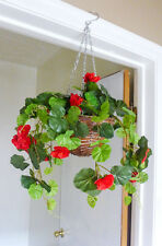 Red Begonia Artificial Flowers Hanging Basket Plants(With Basket)