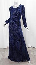 OSCAR DE LA RENTA Blue Burnout Velvet Long Sleeve Full Length Gown Dress10 NEW