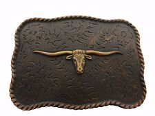 WESTERN TEXAS LONGHORN STEER BULL TROPHY FOR LEATHER COWBOY COPPER BELT BUCKLE