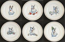 FULL SET 6 Williams-Sonoma TROUBLE Bull Terrier Dog Spuds Salad Plates Christmas