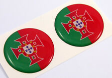 """Portugal flag Round domed decal 2 emblem Car bike stickers 1.45"""" PAIR"""