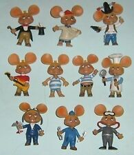 RARE 10 TOY FIGURES TOPO GIGIO PVC Portugal COMPLETE COLLECTION HAND PAINTED