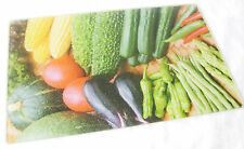 NEW TEXTURED GLASS CUTTING CHOPPING KITCHEN BOARD MEDIUM MIXED VEGETABLES HK
