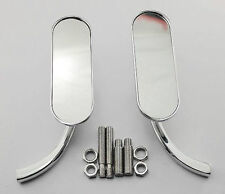 CHROME MINI OVAL ARLEN NESS MIRROR SET LEFT & RIGHT FOR HARLEY METRIC VICTORY