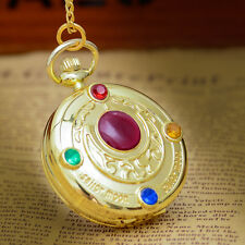 Anime Sailor Moon Golden Moon Prism Sweater chain necklace pendant pocket watch