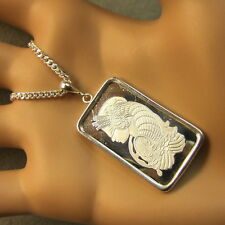 New Sterling Silver lady luck bullion pendant with 10g fine silver bar & chain