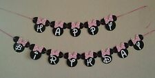 Minnie Mouse Happy Birthday Pink Banner. free shipping USA