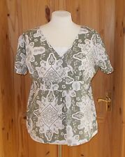 COTTON TRADERS off-white ivory olive green floral short sleeve tunic top 18-20