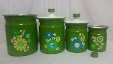 KROMEX Kitchen Canisters Set Green Flowers Enamel 1960 Set Of 4
