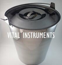 Stainless Steel Bucket Pail 20 Qt Dog Farm Water Milk Feeding Heavy Duty + Lid