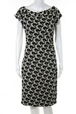 Diane Von Furstenberg Ivory Black Geometric Stretch Sweater Dress Size 10