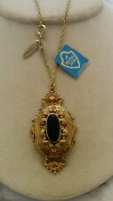 whiting & davis necklace locket black onxy stone with chain and tags