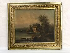Antique Oil Painting Sawmill Gristmill River Landscape Original Gold Gilt Frame