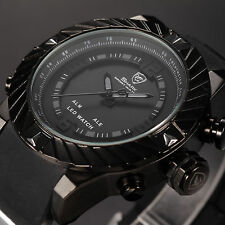SHARK Men's Digital LED Black Silicone Date Day Wrist Quartz Luxury Sport Watch