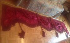 HUGE ANTIQUE VALANCE OVER 10 Ft SILK FRINGE TRIMM TASSELS WITH FLOWERS HEAVY