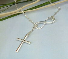 Lady Lucky 8 Infinity Cross  Simple Pendant Necklace Wedding Jewelry EY897