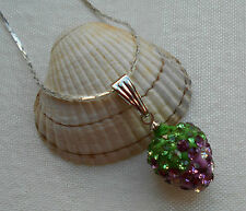 Silver plated shamballa style necklace with sparkly strawberry pendant PURPLE